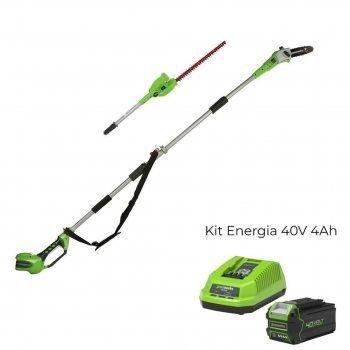 Foto - Tosasiepi/Potatore G40PSH con Kit Energia 40V 4Ah Greenworks